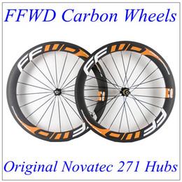 Descuento acabado mate FFWD Naranja Decalques 60mm Profundidad 23mm Ancho Carbono Bicicleta Ruedas Acabado Mate 3K Weave Clincher Tubular Con Negro Novatec 271 Hubs 20/24