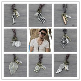 Wholesale Vintage Style Chooes Maxi Colar Masculio Couro Male Leather Necklace Angel Wings Neckless Men and Woman Best Friends Jewelery