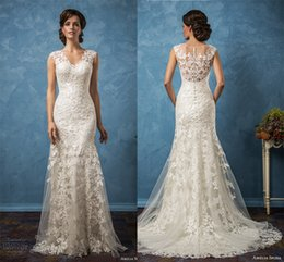 sheath mermaid wedding dresses 2017 amelia sposa bridal gowns v neckline illusion back full embellishment chapel train wedding gowns