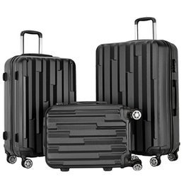 3 Pieces Carry on Luggage Set 4 Wheels Spinner Suitcase Travel Suitcase ABS School Rolling Packing Trolley Black