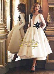 2017 Puffy Deep-V-Neck Vintage Sheer Long-Sleeves Pockets Ruffles Long Evening Dresses