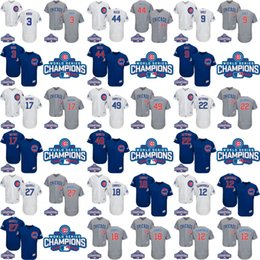 Wholesale 2016 World Series Champions Patch Chicago Cubs Javier Baez Kris Bryant Anthony Rizzo David Ross Russell Arrieta Ben Zobrist baseball jersey