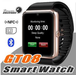 Promotion apple iphone montres intelligentes 2016 GT08 Bluetooth Smart Watch avec fente pour carte SIM et NFC Health Watchs pour Android Samsung et IOS Apple iphone Smartphone Bracelet Smartw