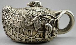 Collectible Decorated Old Handwork Miao Silver Carved Rich Peanut Mice Tea Pot