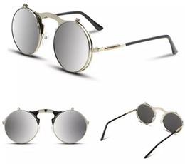 Nouveau Wholesale-VEGA Best Flip Up Lunettes de soleil Hommes Femmes Steam Punk Glasses Round Steampunk Lunettes de soleil Circle Glasses Vintage Spectacles 3057 à partir de meilleures lunettes de soleil gros fournisseurs