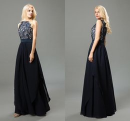 Vintage Navy Prom Dresses Bateau Neck Sleeveless A Line Lace Chiffon Long Formal Dresses Evening Wear Real