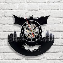 Wholesale Batman Art Vinyl Wall Clock Gift Room Modern Home Record Vintage Decoration