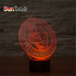 Wholesale Abstraction Circle D Illusion Light cm Laser Engrave D Christmas LED Novelty Night Light with Acrylic