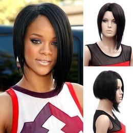 2017 resistente para el cabello de calor Pelucas de pelo sintético corto barato peluca de lado Bang para las mujeres negro resistente al calor negro natural con red de pelo libre descuento resistente para el cabello de calor