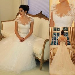 Wholesale China Custom Made Wedding Dresses A line Tulle And Lace Cap Sleeve Vintage Style Vestidos De Noiva De Luxo