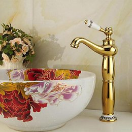 Newly Free Shipping Golden Polish Ceramics Handle Bathroom Sink Basin Faucet Mixer Tap Ceramics Base Deck Mounted Hot Sale