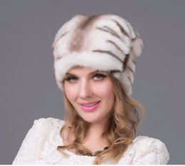 2016 Real mink fur Hats imported whole Mink Fur Hat luxury female high-end cap natural fur Hats lady's winter warm cap DHY-60A