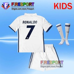2017 Real Madrid RONALDO kids soccer jerseys full sets with socks youth boys child kits 16 17 Home White Third JAMES BALE football shirts