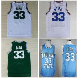 Promotion maillots de sport Hommes # 33 Larry Bird Jerseys, État d'Indiana Sycomores Larry Bird College 1992