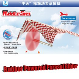 2017 planeadores de bricolaje Venta al por mayor-caucho Powered Parasol Glider DIY Asamblea Modelo juguetes educativos económico planeadores de bricolaje