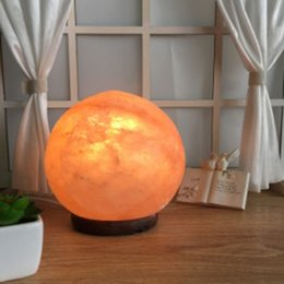 Wholesale Natural Himalayan Globe Sphere Salt Lamp Ionic Air Purifier on Wood Base with Cord Light Bulb Authentic Crystal Allies
