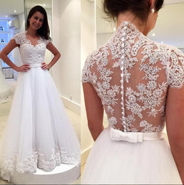 White Cap Sleeves Wedding Dresses A-line Tulle Appliques Lace 2017 Elegant Garden Bridal Gowns For Women See Through Back Dress For Brides