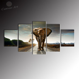 No Stretched on Canvas 5 Pieces Canvas Art Giclee Printing Painting Animal Elephant Large Wall Pictures for Living Room
