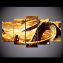 2017 фотографии панели Оптовые 5 панелей большой дракон с облаком и туманом Картина Холст Wall Art Art Домашнее украшение настенное изображение без рамы фотографии панели акция
