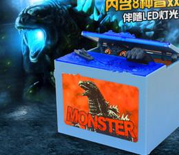 Wholesale Godzilla Piggy Bank Box Movie Musical Monster Moving Electronic Coin Bank Box LED Sound Gimmick Figure Barking Bank Box KKA479