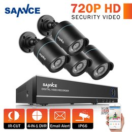 SANNCE 4-Channel HD-TVI 720P Lite Video Security System DVR and (4) Weatherproof Indoor Outdoor Cameras with IR Night Vision LEDs, NO HDD