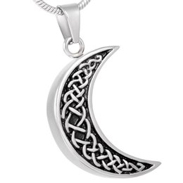 IJD8226 Men's Accessories Wholesale or Retail,Vintage Design 316L Stainless Steel Moon Shape Cremation Jewelry in Pendant necklace Male