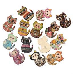 Hangood 50pcs Mixed 2 trous forme de chat bois en bois boutons pour la couture bricolage artisanat bébé vêtements Scrapbooking 30mm à partir de trous bois fabricateur