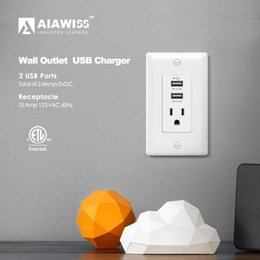 AIAWISS AWUS003 Dual USB Charger Outlet 2.4A-12W Ultra-High-Speed 1 Receptacles 15A, 3 Face Covers Wall Socket,White