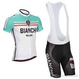 Wholesale 2016 Bianchi Cycling Jerseys Orange Short Sleeve Padded Bib None Bib Shorts Summer Cool Bicycle Clothing Compressed Cycling Suit