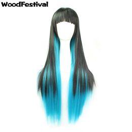 WoodFestival women harajuku wig ombre black blue purple long straight wigs neat bangs synthetic fiber hair wigs