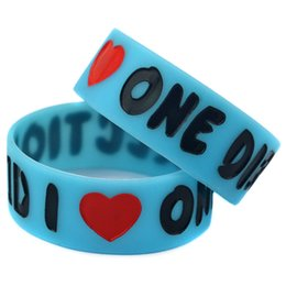 Wholesale 50PCS Lot I Love 1D One Direction Silicone Wristband 1 Inch Wide Bracelet Glow In Dark