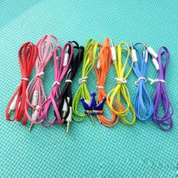 Wholesale 500pcs lot High quality 3.5mm to 3.5mm Colorful flat type Car Aux audio Cable Extended Audio Auxiliary Cable