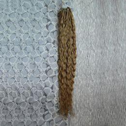 Miel rubia pelo rizado virgen en venta-Extensiones micro rizadas rubias del pelo del grano de la miel virginal brasileña del pelo 100g micro anillo extensiones del pelo humano 1g / s 100s micro lazo 1g rizado