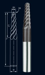 Wholesale Solid Carbide Taper Ball Nose End Mill