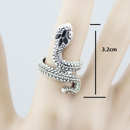 Europe and Japan and South Korea jewelry silver snake shaped S retro pattern all-match personality ring RE