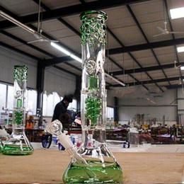Promotion tubes narguilé 15 pouces de verre vert joint bong 14,4 mm tube droit perc recycler plates-formes pétrolières bongs en verre tuyaux d'eau tuyaux d'eau cachés en stock
