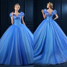 Wholesale 2017 Sky Blue Ball Gown Quinceanera Dresses V Neck Masquerade Puff Balloon Sweet Applique Tulle Lace up Court Train Prom Gowns