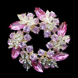 Gold Plated Unique Flower Pink Crystal Wreath Brooch Jewelry