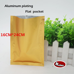 16*24cm Matte golden aluminum plating flat pocket, Heat Seal Aluminum Foil Bag, Food bag, Cosmetics packaging. Spot 100  package