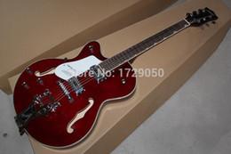 Guitares main gauche corps creux en Ligne-2015 Chinois Usine Custom Vin Rouge Gret sch gaucher G6120 jazz corps creux guitare électrique 930
