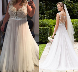 Wholesale Alluring Plus Size Wedding Dresses Sheer Neck Illusion Appliques Sash Tulle See Through Back Summer Beach Wedding Gowns Sweep Train