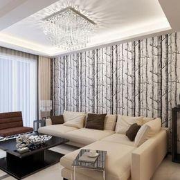 Wholesale 10 Meter Birch Tree Woods Wallpaper Non woven Roll Modern Designer Wallcovering Simple Wallpaper For Living Room ZA1857