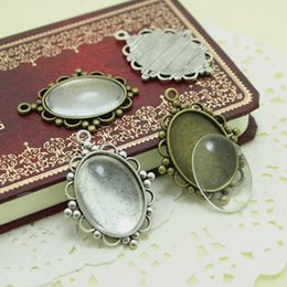 Wholesale Sweet Bell set Antique Silver Metal Alloy Cameo Flower mm Oval Pendant Cabochon Settings Clear Glass Cabochons D003
