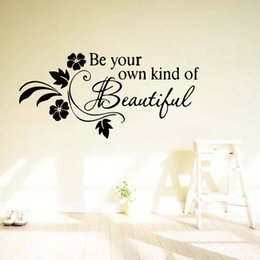 Be Your Own Kind Of Beautiful Flower Vine Removable Wall Quotes Decals Bedroom Sitting Room Stickers Decor Art