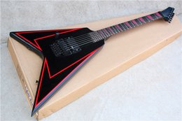 Black Left-hand Flying V Electric Guitar with Red Lines on Body,Floyd Rose and Red Special Fret Marks Inlay