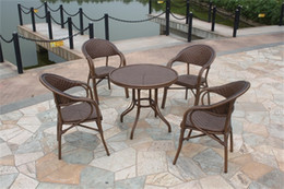 Wholesale New rattan outdoor furniture tea round tables and chairs five piece Garden and restaurant furniture cafe tables and chairs suite