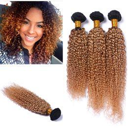 24 profonds faisceaux de cheveux bouclés à vendre-8A Deep Ombre Malaisie cheveux bouclés Virgin 3pcs / lot Miel Blonde Bundles 1b 27 Deep Wave Ombre Brésilienne cheveux de la Vierge