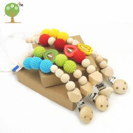 Wholesale assorted wooden heart green red yellow crochet beads baby birth gift Pacifier Clip Dummy Holder Natural wooden beads NT189