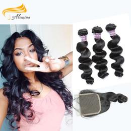 Alimina Hair Virgin Human Hair Wth Closure 3 Bundles With A Closure Loose Wave Black Brazilian Indian