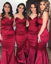 2020 Mermaid Long Bridesmaid Dresses Burgundy Sweetheart Satin Pleats Floor Length Cheap Wedding Party Guest Dress Maid Honor Gowns